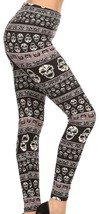LEGGINGS: Super Soft Comfy One Size High Waist Full Length Black Skull P... - $10.54