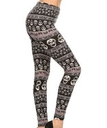 LEGGINGS: Super Soft Comfy One Size High Waist Full Length Black Skull P... - $10.54