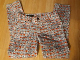 J Crew Toothpick Jeans Cropped Matilda Tulip Floral Red Blue Sz 27 Ankle... - $19.75
