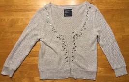 American Eagle Women's Gray Long Sleeve Cardigan Sweater Jewel - Size: S... - $13.36