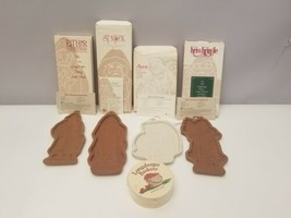 4 Longaberger Pottery Cookie Molds Father Christmas 1990 St Nick 1993 Pe... - $28.70