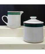 Oneida Stoneware Casual Choice S-3 Creamer and Covered Sugar Bowl Green ... - $13.86