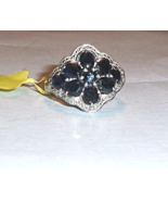 Kanchanaburi Blue Sapphire Oval & Diamond Cocktail Ring, 925, Size 9, 3.... - $99.99
