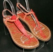 Sam Edelman Gigi orange man made fur print buckle thong sandal flats 10M  - $33.30