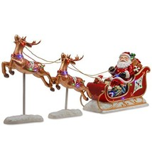 National Tree 30 Inch Reindeer Pulling Sleigh and Santa with Multicolored LED In