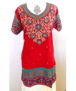 Womens Indian kurta Kurti  Pakistani Top Tunic Red with gold Print short sleeves - $17.10