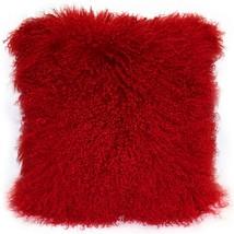 Pillow Decor - Mongolian Sheepskin Bright Red Throw Pillow image 1