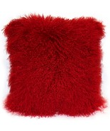Pillow Decor - Mongolian Sheepskin Bright Red Throw Pillow - £57.21 GBP