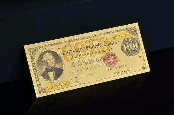 "<GEM>1882 GOLD $100 DOLLARS Rep* ""GOLD Coin""Treasury Banknote W/COA~US SEL"