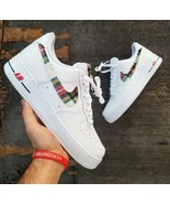 nike air force 1 white custom 'flannel swooshes' available in all sizes - $205.00