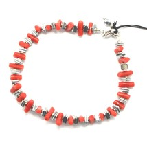 Silver 925 Bracelet with Coral & Hematite Bpi90-2 Made in Italy by Maschia - $116.20