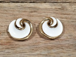 Vintage Trifari  White & Gold Tone Clip On Earrings Jewelry - $4.90