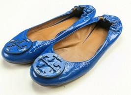Tory Burch Reva Tumbled Patent Leather Island Blue Ballet Flats Size 7 - $34.64