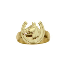 Horse Shoe Good Luck Ring Real 24K Yellow Gold Plated Jewelry New Pick Size - $24.54