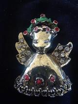 Vintage Rhinestone Angel with Christmas Wreath Halo Brooch - $5.00