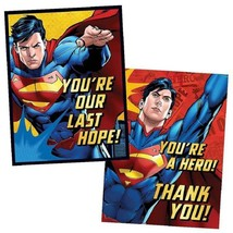 DC Superman Birthday Party Invitations & Thank You Postcards 8 Count New - $6.88
