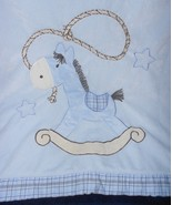 Starting Out Rocking Horse Baby Blanket Blue Brown Plaid Stars Cowboy - $39.58