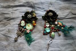 Boho wearable art cameo victorian earrings- black turquoise earrings- bo... - $68.00
