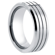Ladies or Men's 8mm Tungsten Band with Grooves & Mirror Finish - $54.99