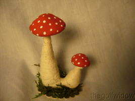 Vintage Inspired Spun Cotton Double Standing Mushrooms no B2 image 1