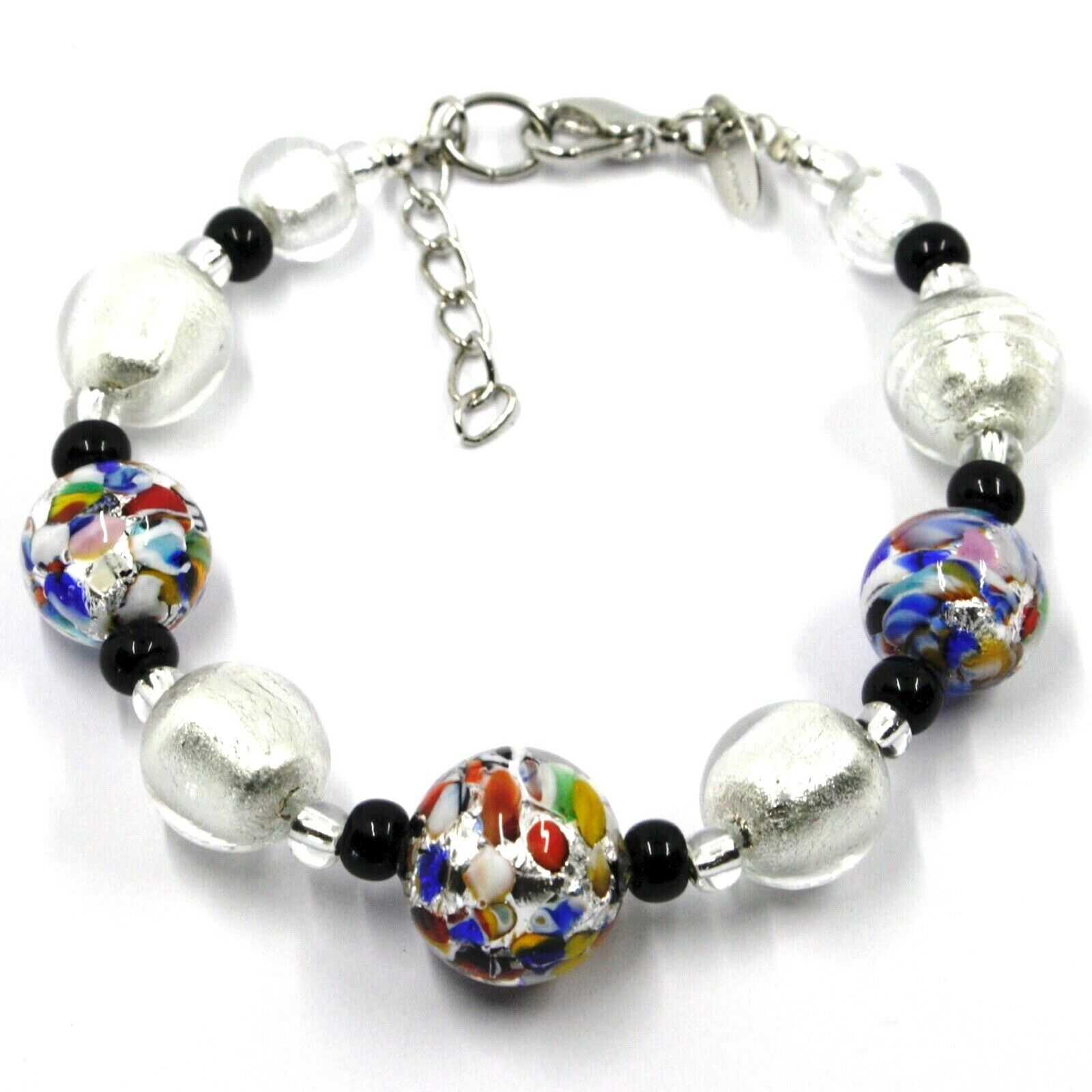 BRACELET MACULATE MULTI COLOR MURANO GLASS SPHERE, SILVER LEAF, MADE IN ITALY