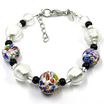 BRACELET MACULATE MULTI COLOR MURANO GLASS SPHERE, SILVER LEAF, MADE IN ITALY image 1