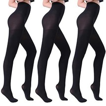 Fitrell Opaque Tights For Women Fashion Control Top Pantyhose 3 Pairs, B... - $22.01