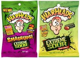 Warheads* 2pc 2 Oz Bags Warheads Hard Candy Extreme Sour+Smashups New Exp. 5/21+ - $4.99