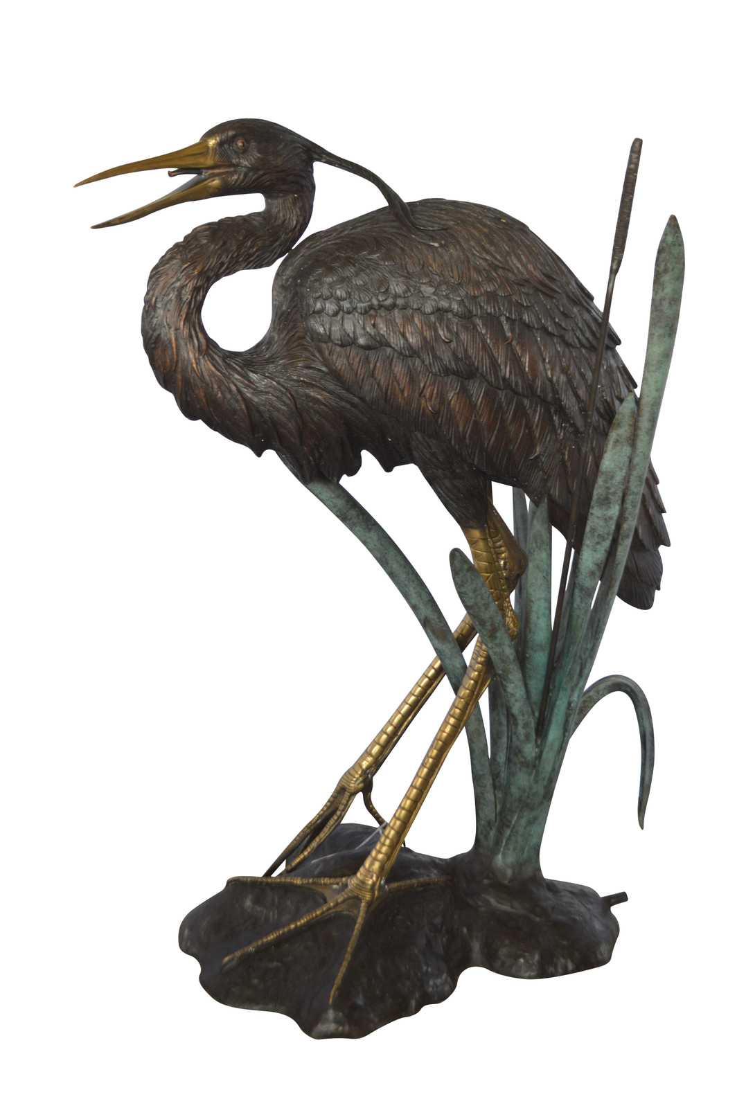 "Large Heron Fountain Bronze Statue -  Size: 40""L x 24""W x 48""H."