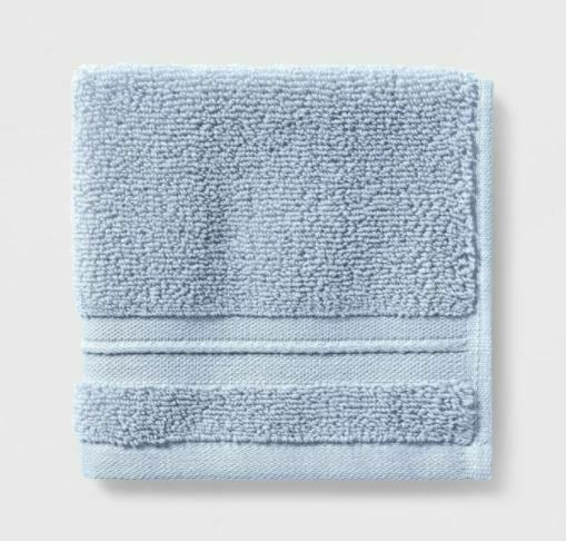 Spa Bath Towel - Threshold Signature Glowing Blue Light Blue- NEW-WITH-TAGS