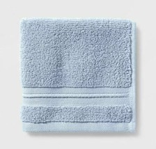 Spa Bath Towel - Threshold Signature Glowing Blue Light Blue- NEW-WITH-TAGS  image 1
