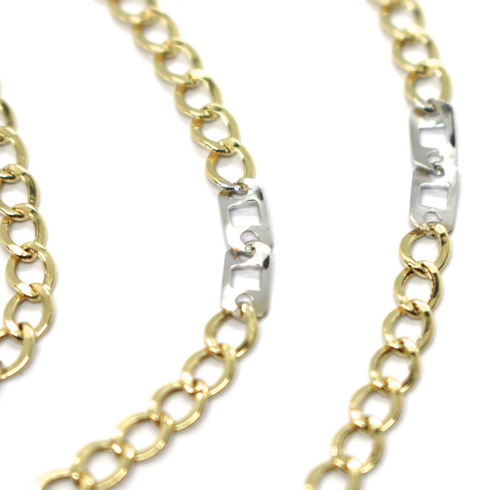 Cadena Oro Amarillo Blanco 750 18K, 50 cm, Groumette Plana y Cuadrado, 3 MM image 3