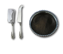 Grande Baroque Wallace Sterling Silver Cheese and Wine Mikasa Gift Serving Set - $159.00