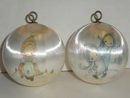 2 Vintage Hallmark Satin Ball Ornament Lot Betsey Clark - Christmas 1975 - White - $14.89