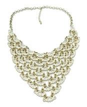White Enamel Open Work Gold Tone Collar Necklace - $17.82
