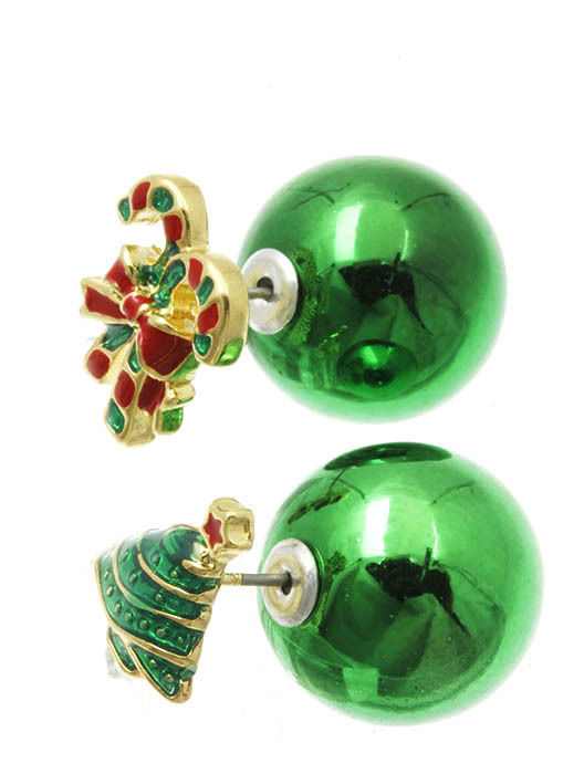 Christmas Tree Candy Cane Bow Double Sided Green Ball Earrings