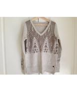 New Hollister Women V-neck Cream Geometric Long Sleeve Side Slit Sweater... - $29.69