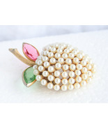BSK Faux Seed Pearl Apple Rhinestone Brooch Gold Tone  - $27.05