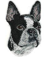 Black White Boxer Boston Terrier Portrait Embroidery Patch - $5.50
