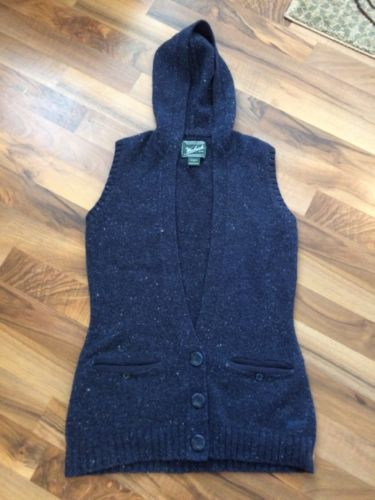 Primary image for Woolrich Women's Long Sweater Vest Size Small Blue Flecked Hooded Wool Blend
