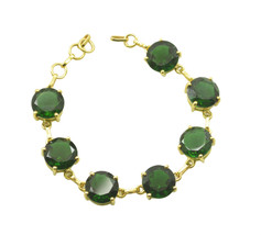 fair Emerald CZ Gold Plated Green Bracelet genuine usual US gift - $29.69