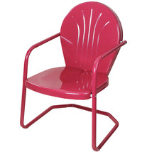 LB International Retro Style 34 Inch Outdoor Metal Tulip Chair, Berry Pu... - $73.00
