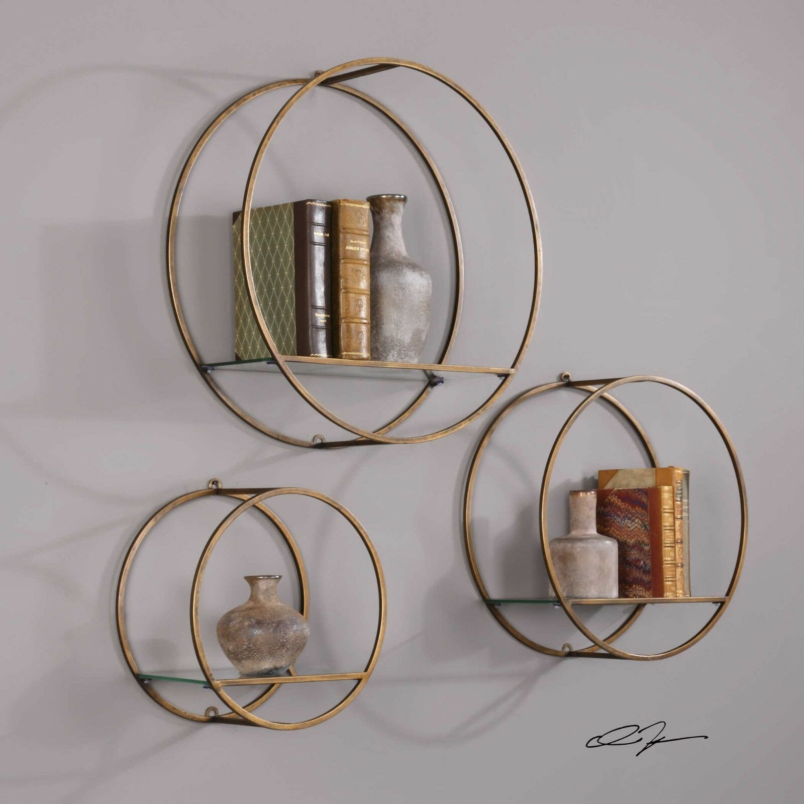 Primary image for Set 3 Round Shelf Wall Display Antique Gold Leaf Metal Glass Modern Bathroom New