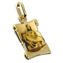 Pendentif Médaille en or Jaune 750 18K, Christ et Marie, Parchemin avec Émail image 2