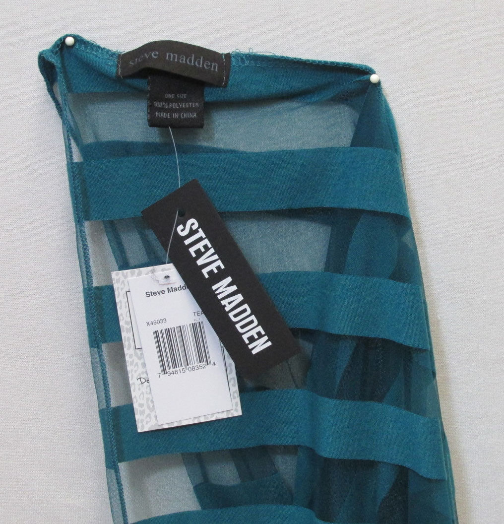 Steve Madden Womens Infinity Scarf Teal Blue Solid & Sheer Stripe NWT