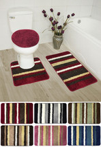 Cyprus 3 Piece Striped Bathroom Rug Mat Set - Rug, Contour & Lid Cover - $24.56