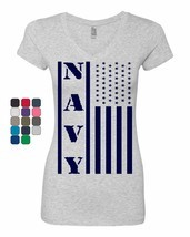 Navy American Flag Women's V-Neck T-Shirt Patriotic Stars and Stripes Mi... - $8.23+