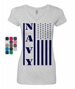 Navy American Flag Women's V-Neck T-Shirt Patriotic Stars and Stripes Mi... - $8.23+