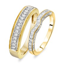 0.5 Cts Round Sim Diamond Men & Women's Wedding Band Ring Set 14K Yellow... - $112.99