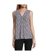 Worthington Sleeveless Knot-Neck Top Sizes PS, PL, PXL Black White Apres... - $16.99